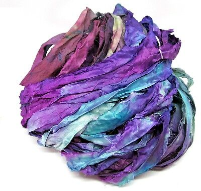 Shunklies Hand Dyed Recycled Sari Silk Ribbon Yarn Embroidery Knit Weaving 113gA
