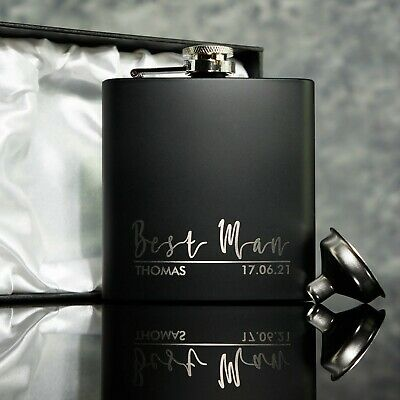 Groomsman, Usher, Best Man Gift Black Hip Flask With optional Gift Box OMG63