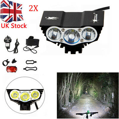 20000Lm 3X XML T6 LED Front Mountain Bicycle Bike MTB Light Lamp Torch+Taillight