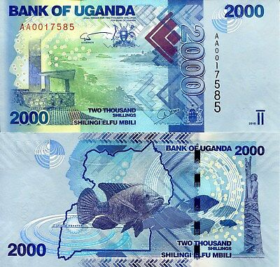 UGANDA 2000 Shillings Banknote World Paper Money Currency Pick p50 2010 Fish