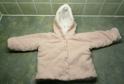 M & S Marks Spencer pink hooded quilted coat 3 - 6 months girls flowers floral
