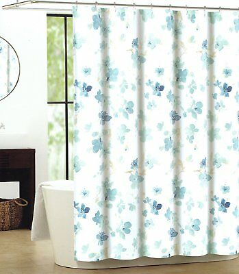 Tahari Floral Cotton Fabric Shower Curtain Spring Blossom Flowers Turquoise Blue