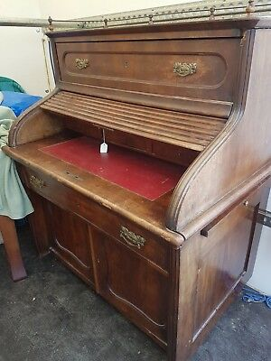 Late Victorian Desk with Tambour Section 110cm wide {divides into 2 parts}