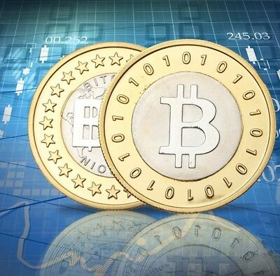 1Pcs Gold and Silver Plated Bitcoin Novelty Collectable Art-Coin New/Rare