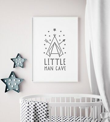 """Little Man Cave"" Grey Nursery Art Print / Picture For Bedroom / Playroom / Boys"