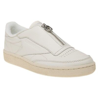 a18e9c24e08cd NEW WOMENS REEBOK WHITE CLUB C 85 ZIP LEATHER Sneakers Court ...