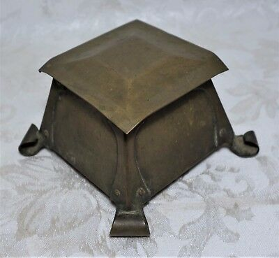 Antique 1910s  Arts and Crafts Bronze Inkwell With Blue Glass Insert