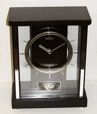 Bulova Mantel Clock- The Mercer,black Walnut Finish Westminster Chimes B1717