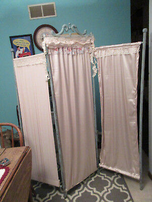 Upcycled wood Room Divider - Age Unknown - blue wood- handmade apricot curtains
