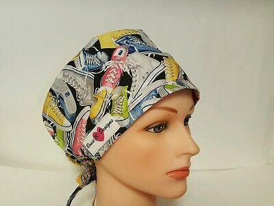 OLD  SCHOOL SNEAKERS  /PIXIE HAT SCRUB SURGICAL / SCRUB /CHEMO  hat