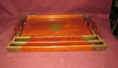 Set Chinese Old or Antique Hardwood Nesting Trays 20th century