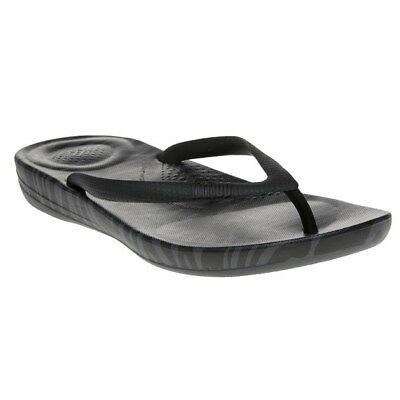 699a3cfaa New WOMENS Fitflop BLACK GRAY IQUSHION SUPER-ERGONOMIC FLIP FLOP RUBBER  SANDALS