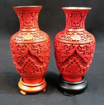 """Pair Vintage Miniature 5.25"""" Chinese Handmade Lacquer over Brass Cinnabar Vases"""