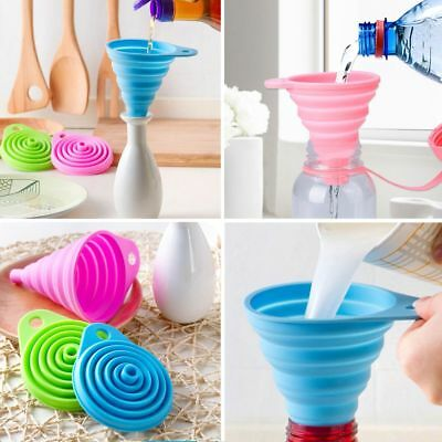 Silicone Collapsible Foldable Silicon Kitchen Funnel Hopper Practical Tool