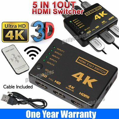 5 Way 4K Super HD HDMI Switch Splitter HDTV Auto 5 Port IN 1 OUT Remote Control