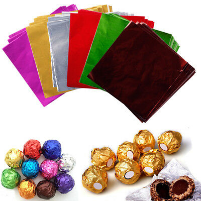 100pcs Square Foil Paper Wrappers Package Sweets Candy Chocolate Lolly