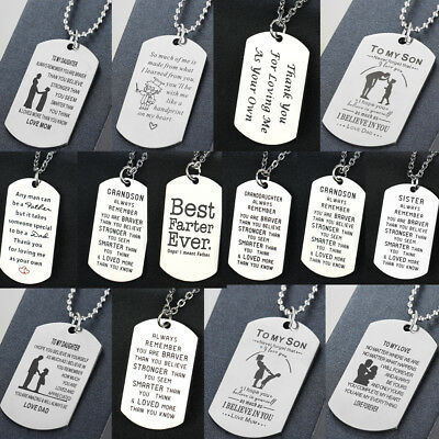 Mothers Day Gifts For Her Mom Pendant Chain Dog Tag Necklace Stainless Steel New