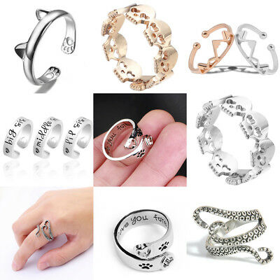 Women Men Lady Silver Octopus Paws Cute Love Heart Ring Wedding Party Adjustable
