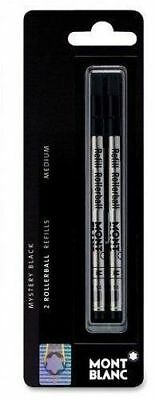 1 Pack - GENUINE MONTBLANC Rollerball Pen Refills - MYSTERY BLACK - MEDIUM POINT