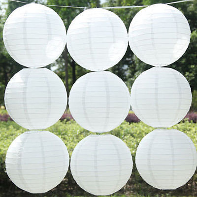 "5Pcs 6/8/10/12""White Chinese Round Paper Lanterns Lamp Shade Wedding Party Decor"