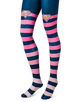 Women's Superwomen Stripe Tights Blue & Pink