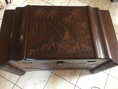 Vintage Chinese large heavy Camphor Wood and Brass Chest Bands Footed
