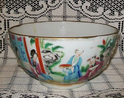 ANTIQUE CHINESE FAMILLE ROSE CANTON BOWL (**damaged/A/F**)