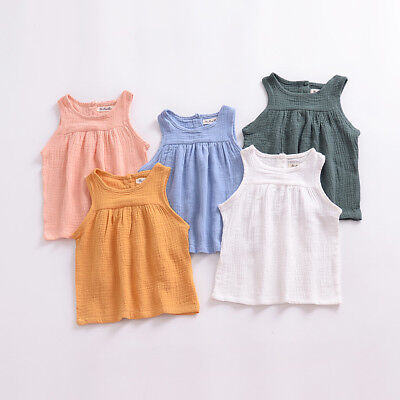 2018 Toddler Baby Kids Girls Dress Tank Vest Tops T-Shirt Outfit Set Clothes