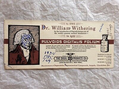 Old INK BLOTTER Dr. William Withering The Drug Products Co. Long Island City,NY