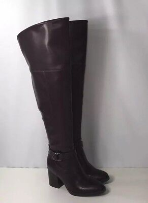 abee89c95f1 New Franco Sarto Abide Over the Knee Boot Women s Size 5 Burgundy Round Toe   100