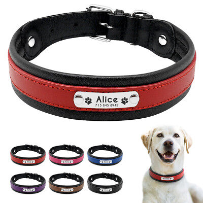 Personalized Dog Collar Medium Large Black Genuine Leather Dog Collars M L XL