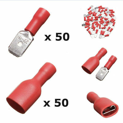 100pcs Male Female Spade Blade Connectors Insulated Red Crimp Terminal 22-16AWG