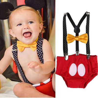 Mickey Minnie Mouse Vintage Newborn Baby Boys Girls Romper Bodysuit Cosplay Set