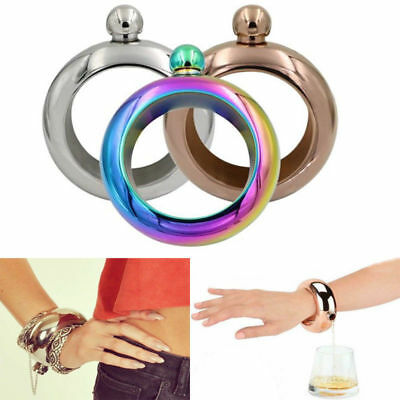 3.5oz Stainless Steel Jug Bracelet Alcohol Liquor Whiskey Hip Flask Bangle Dazzl