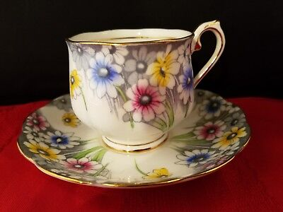 """VINTAGE Royal Albert Footed Coffee Cup 3""""h & Saucer 5 1/2""""d China Set Floral"""