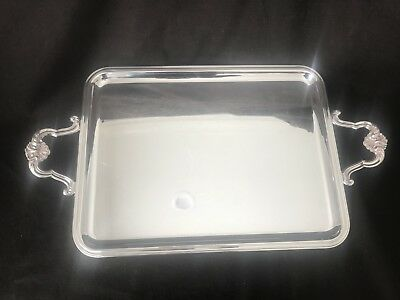 """Christofle Coquille Large Gallery Waiters Tray Platter 22"""" L Shell Handles"""