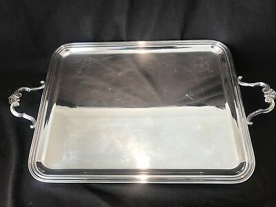"""Christofle Coquille Massive Gallery Waiters Tray Platter 27"""" L Shell Handles"""