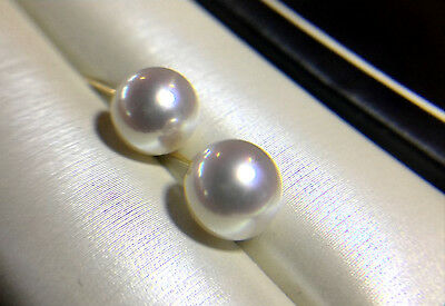 3022c32d3 LilyTreacy Japanese Akoya Pearl Ear Studs Earrings 18K Solid Gold 7-7.5 5.5- 6mm