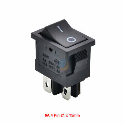 DPST On/Off Black Snap-in Rectangular Rocker Switch 4 Pin 6A 250V AC 21 x 15mm