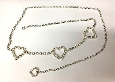Simple party love heart belt in silver colour with bling bling rhinestones