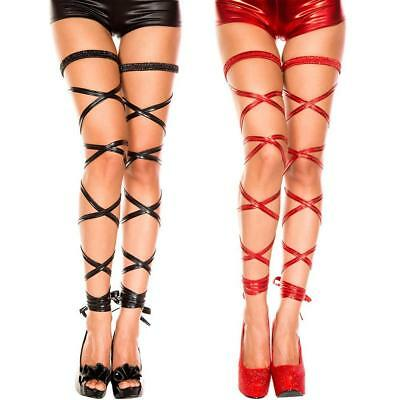 Women's Sexy Punk Gothic PU Leather Thigh Sock High Stocking Garter Belt!