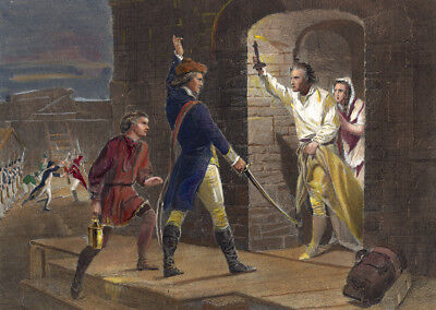CAPTURE OF FORT TICONDEROGA hand colored Engraving to Chappel's pinx