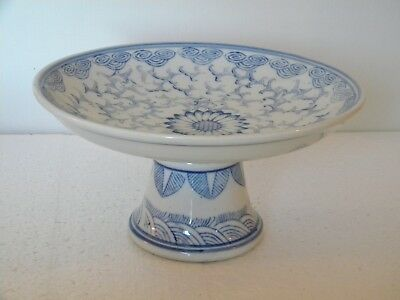 Oriental Accent China Plate Raised on pedestal. Blue and white.