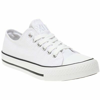 New Womens XTI White 48893 Synthetic Trainers Court Lace Up