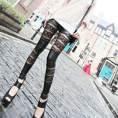 Hot Sale Womens Lady Leather Mesh Lace Skinny Pants Stretch Leggings Pencil Hose