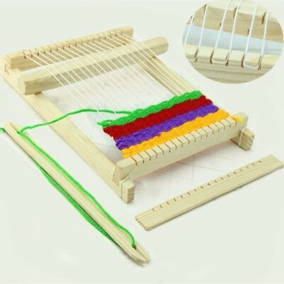 Hot Weaving Loom Kids Toy Wooden Craft Traditional Hand Pretend Play Knitting CB