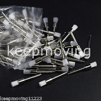 100 Pcs Disposable Flat Latch Dental White Nylon Polishing Polisher Prophy Brush