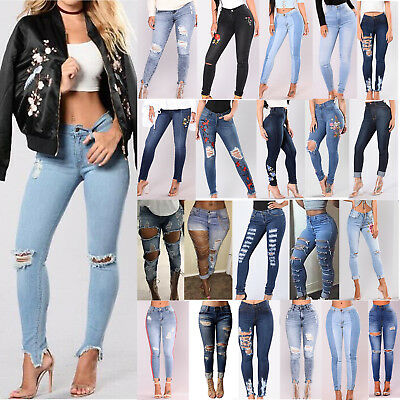 Womens Stretch Ripped Skinny Slim Fit High Waist Denim Pants Jeans Trousers Lot