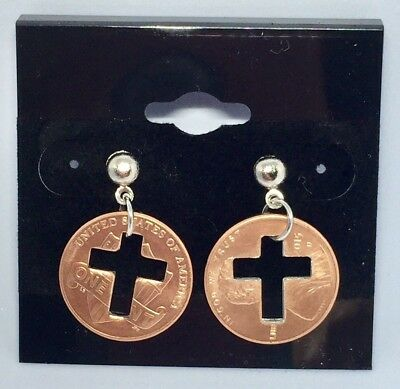 Penny Cross Cut Out Religious Christian Dangling Earrings