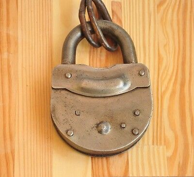 Large Padlock-Vintage-Antique-Lock-Decorative-Art-Metal-Handcrafted-Iron